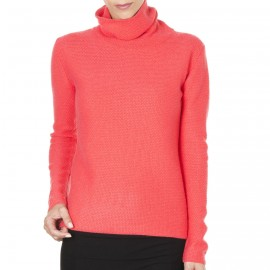 Pull col montant cachemire maille fantaisie Edwige
