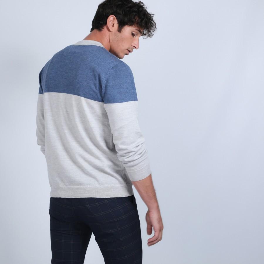 Gilet bicolore en laine mérinos - Retine