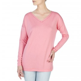 Pull col v manches longues laine et soie Dayanna