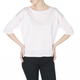 Pull col rond manches coudes petits trous Dania