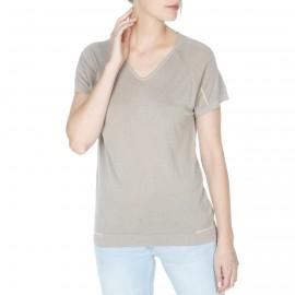 T-shirt manches courtes en soie et lin Flore