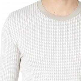 Pull en coton à motif bi-colore Hervé