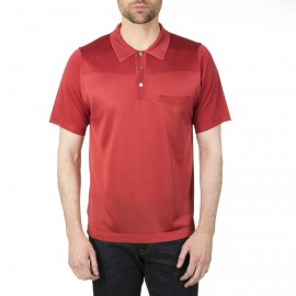 Fil Lumière man's polo in patterned knitted argyle Ilan