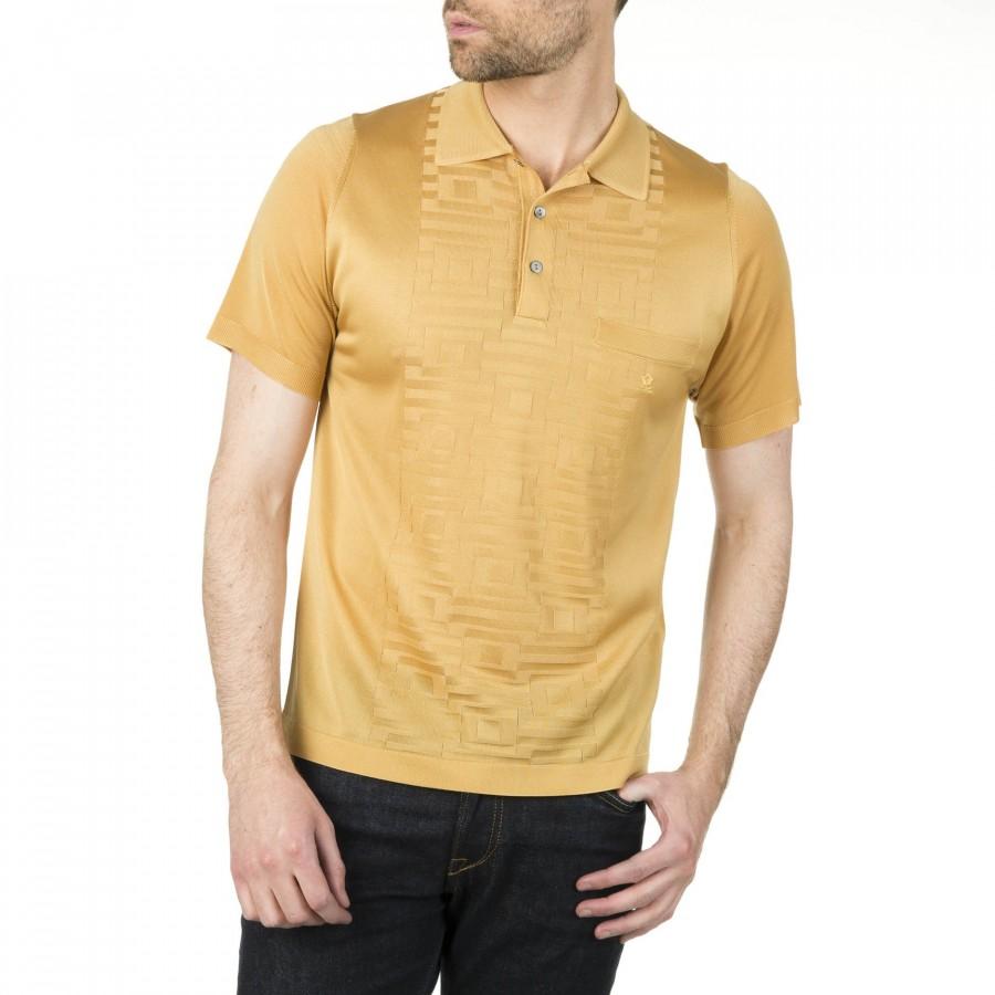 Polo homme Fil Lumière motif géométrique Isaac beige moyen 0639 kraft