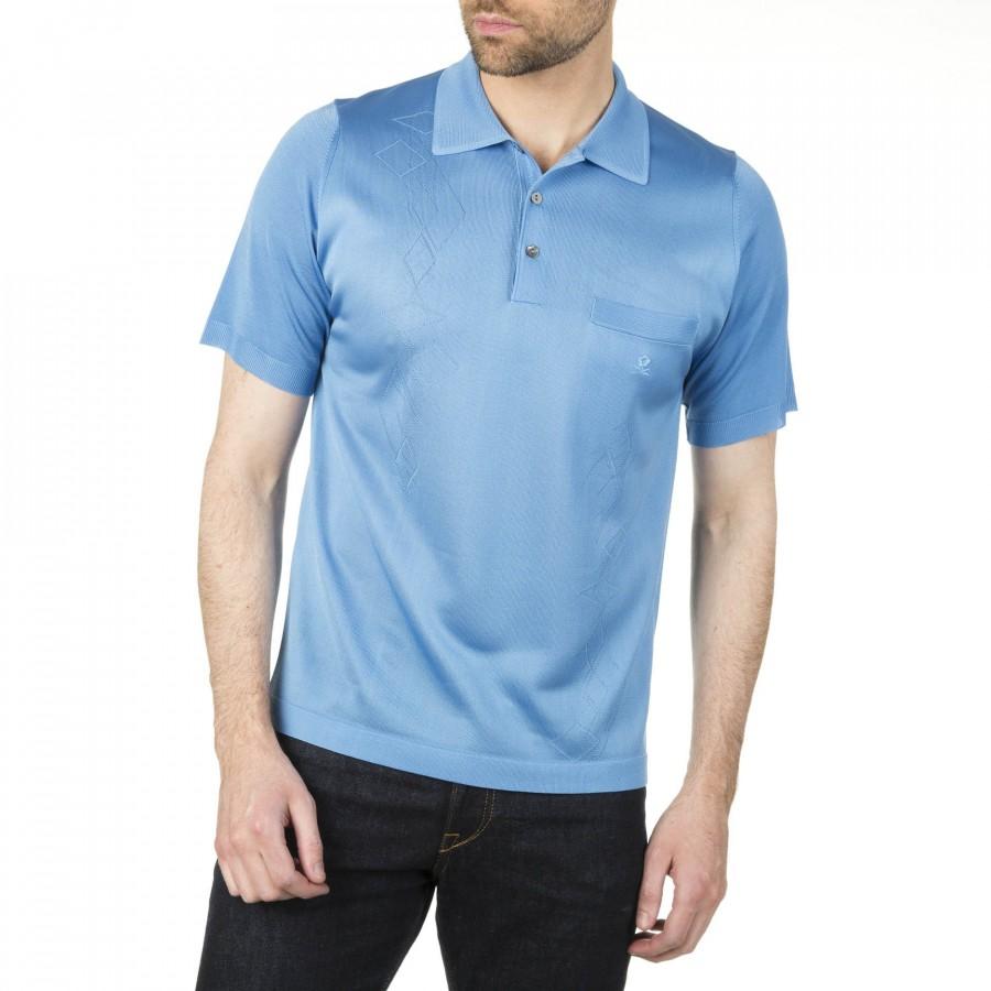 Polo homme Fil Lumière motif losanges Ivan bleu moyen 4036 faded blue