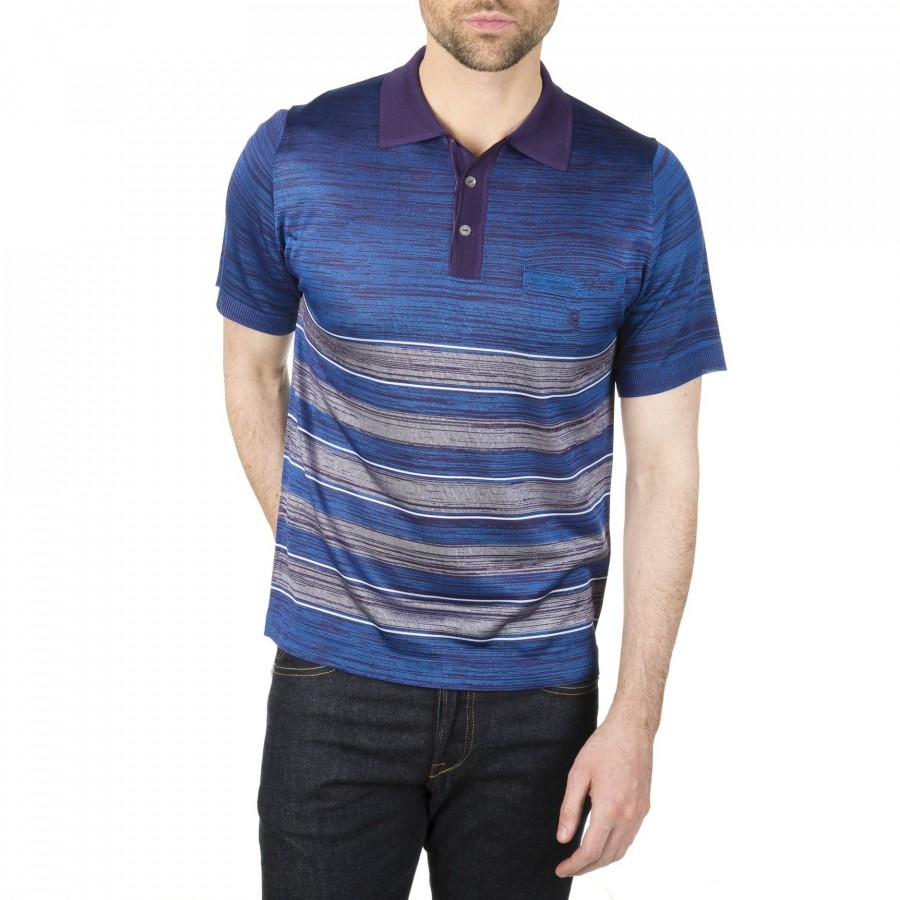 Polo à rayures multicolores Fil Lumière Iker 3731 Abyss bleu foncé