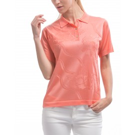 Women's classic flower and ribbons pattern polo-shirt Kim
