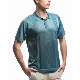 Men's vertical stripes, cables and argyle pattern polo-shirt Klaus