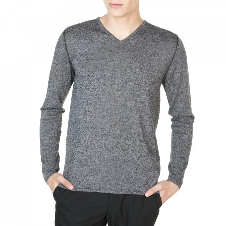 T-shirt col V laine et coton Jimmy 5996 ombre noir - 10 gris foncé