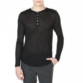 T-shirtcol tunisien boutonné en viscose et laine John
