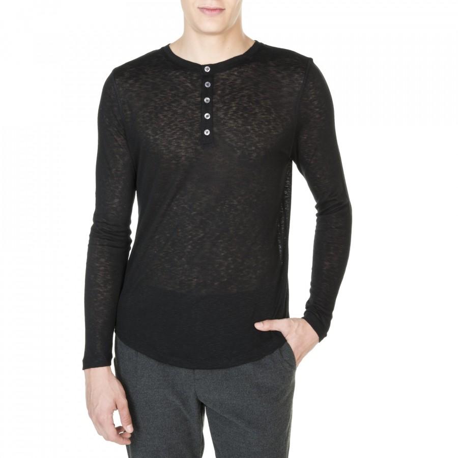 T-shirtcol tunisien boutonné en viscose et laine John 0112 noir - 01 noir
