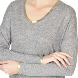 T-shirt femme col U en viscose et laine Johanne