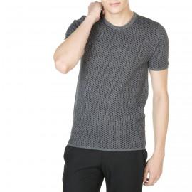 T-shirt manches courtes en laine et coton Jason  5996 ombre noir - 10 gris fonce