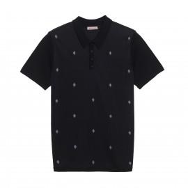 Polo avec petit motif en Fil Lumière et laine Jasper 5979 noir recif - 01 noir