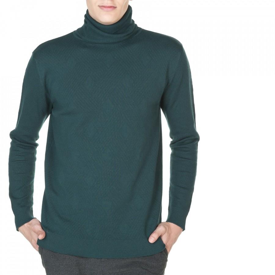 Pull col roulé avec motif tressage coton et cachemire Jules 5937 lierre - 21 vert fonce