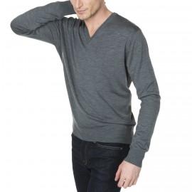Pull col V en laine chinée avec logo à la hanche Juliano