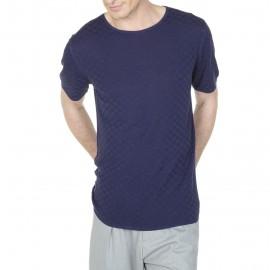 T-Shirt mit quadratischen Punkten aus Seide und Leinen Léonard