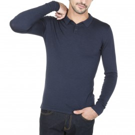 Short sleeved polo shirt in wool and silk Marcel