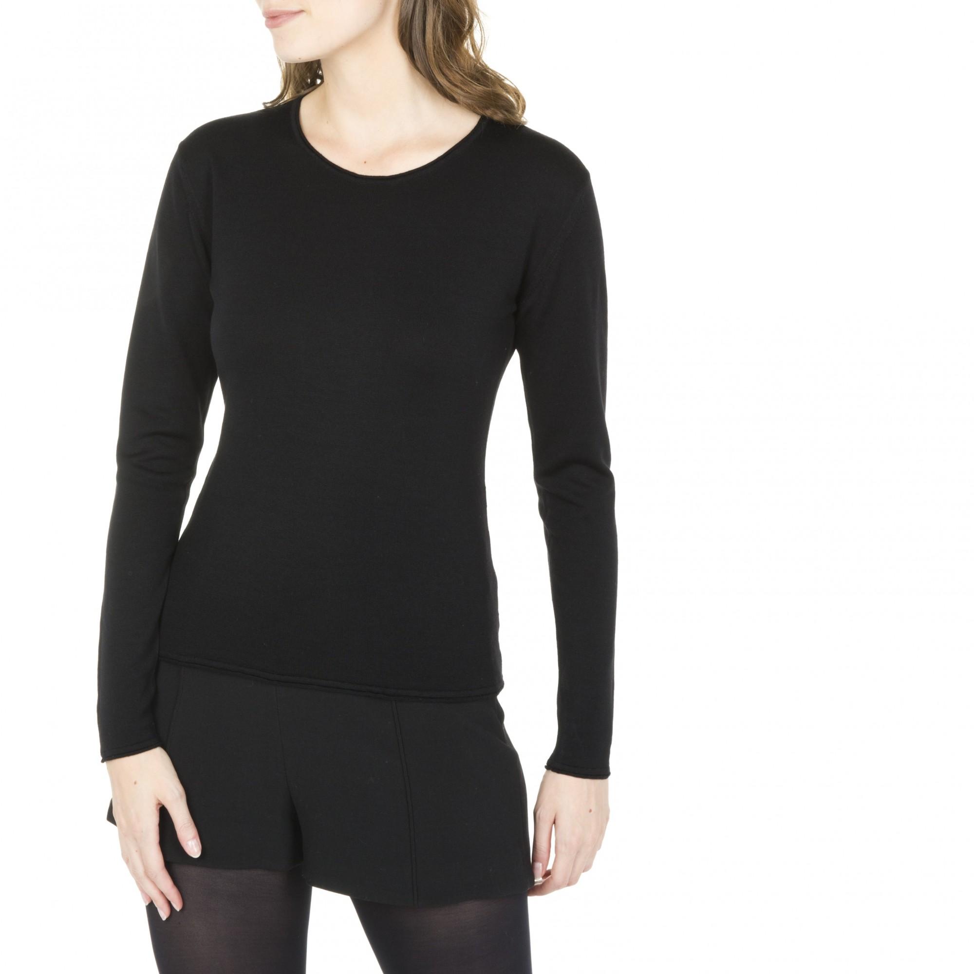 pull col rond en laine pour femme manches longues. Black Bedroom Furniture Sets. Home Design Ideas