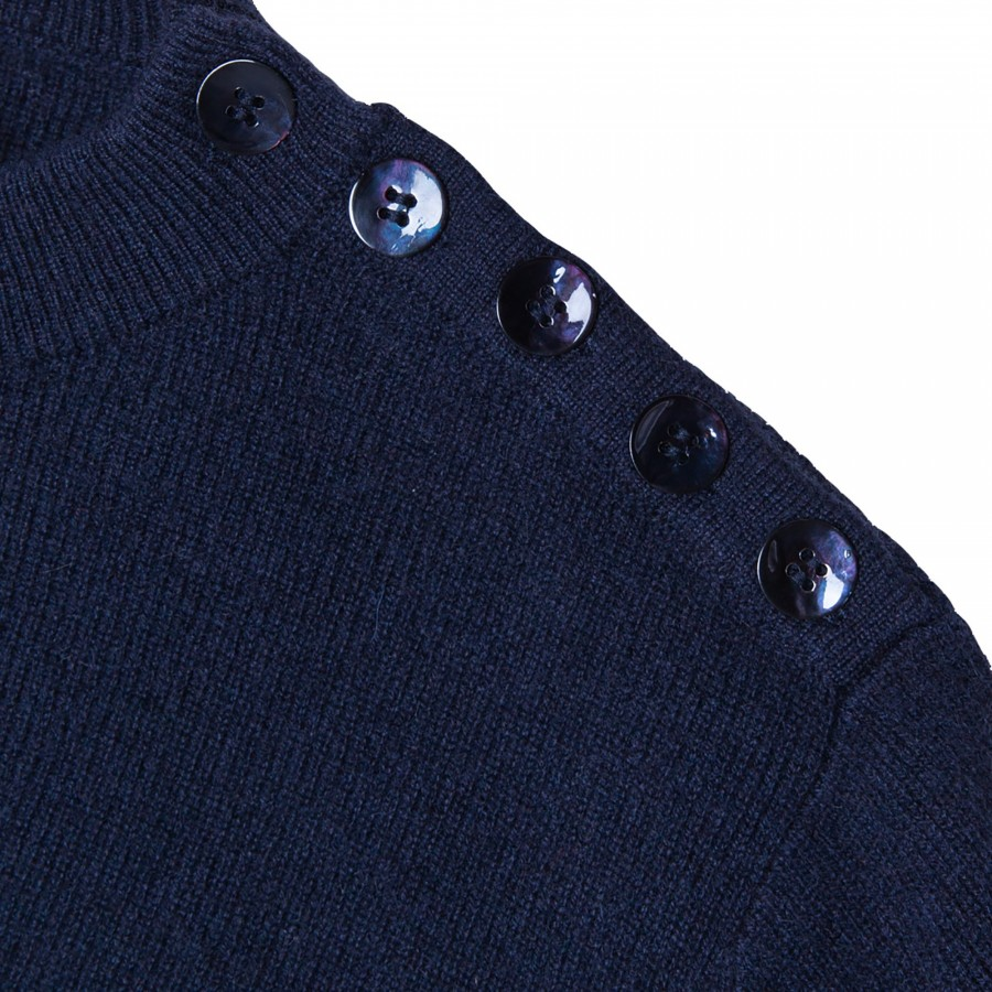 Pull cachemire 4 fils boutons épaules - Fernand