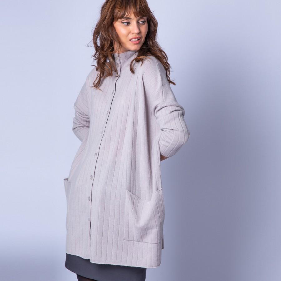 Grande veste à boutons en cachemire - Gaston 6369 grege - 13 beige moyen