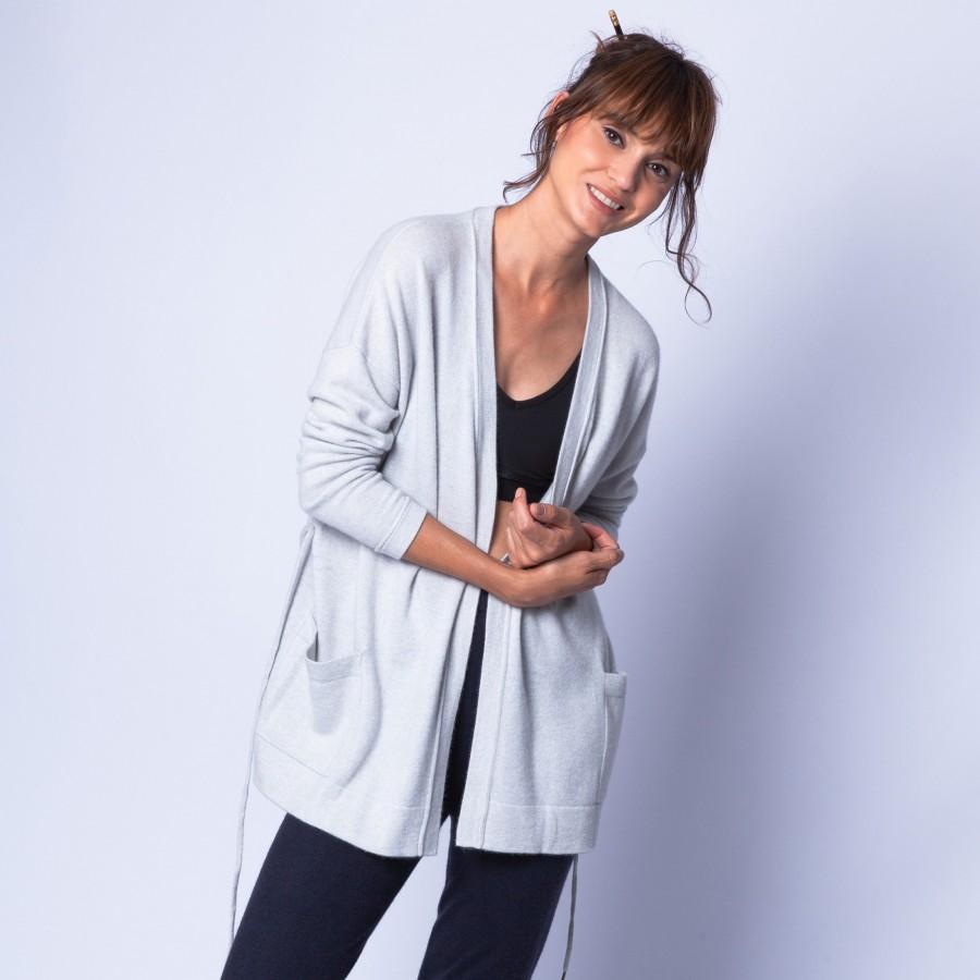 Gilet avec poches en cachemire - Hazel 6366 plume - 81 gris pale