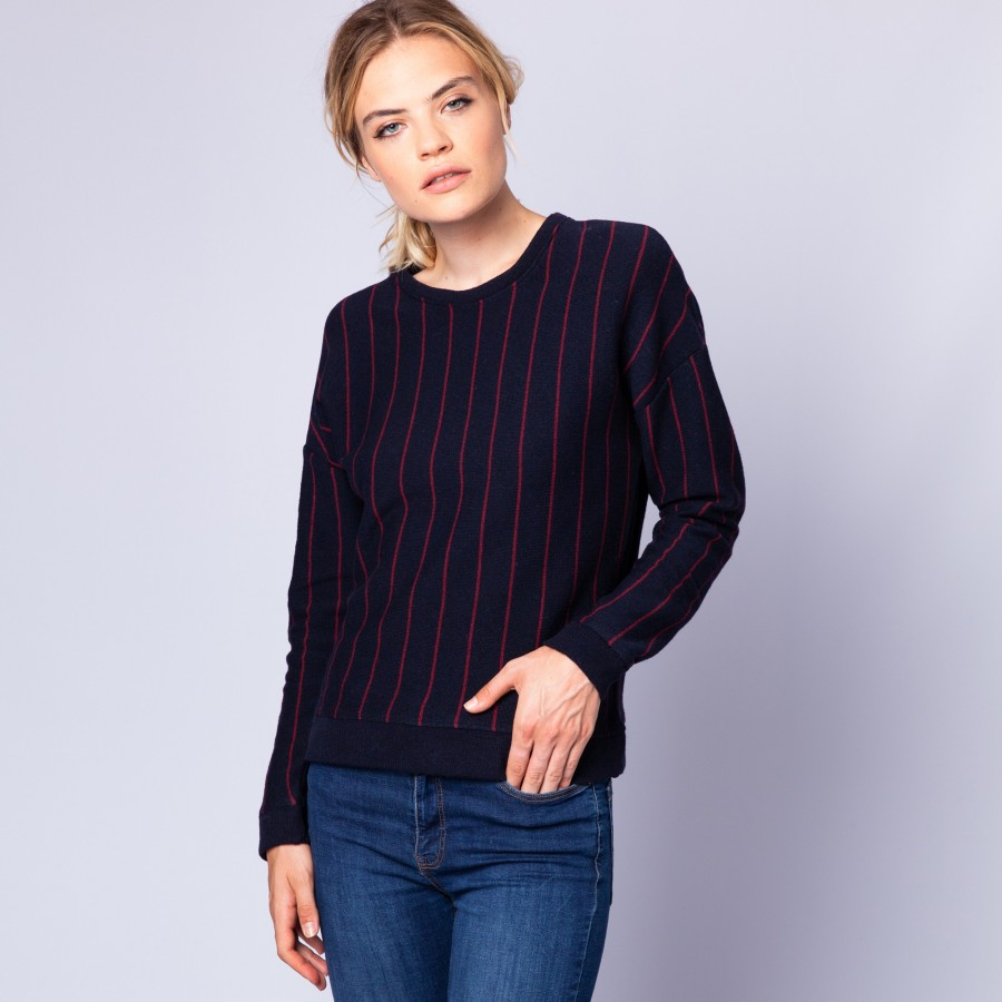Wool and cotton jumper with tennis stripes - Eternel