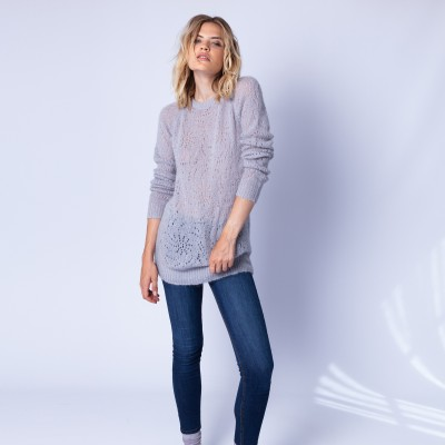Long hemstitched jumper made of mohair - Emeline