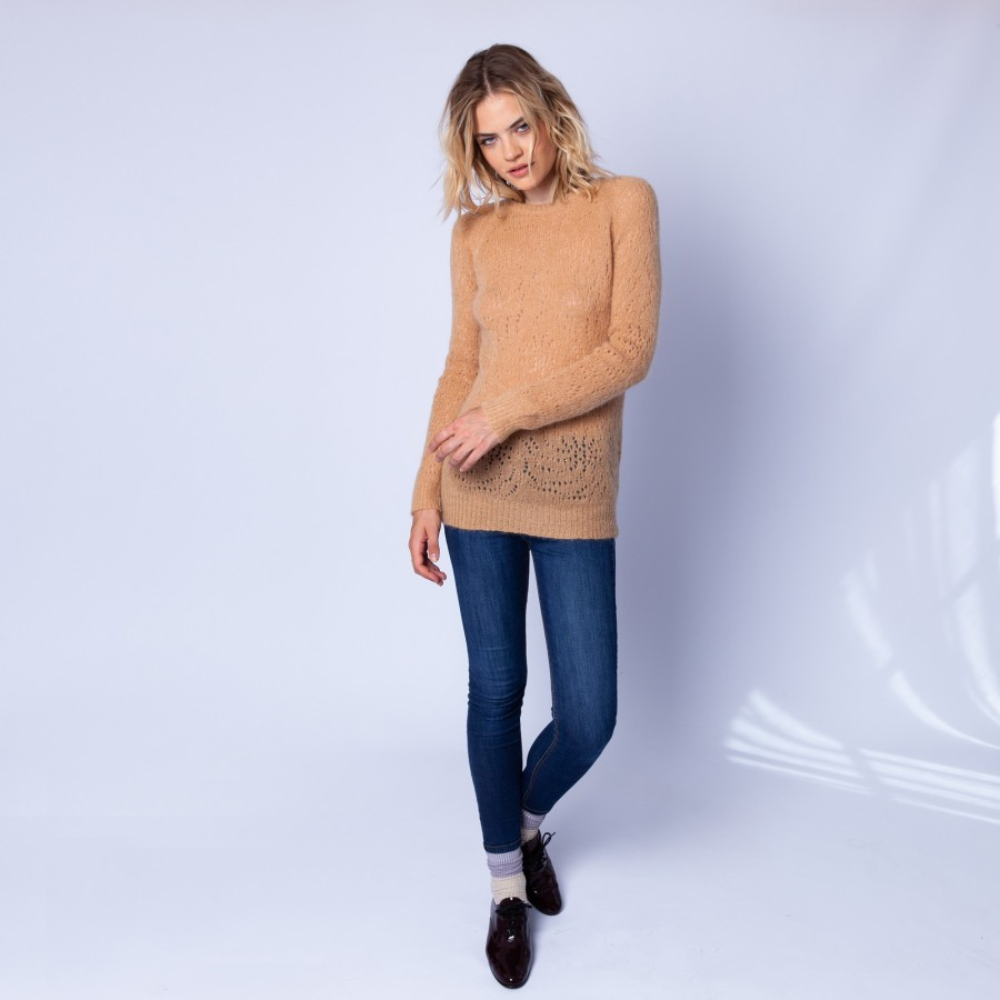 Long hemstitched jumper made of mohair - Emeline