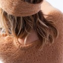Bandeau en mohair ajouré - Evadée 6349 camel - 46 marron clair