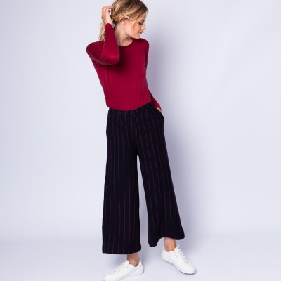 Pantalon rayures tennis en laine et coton - Etienne