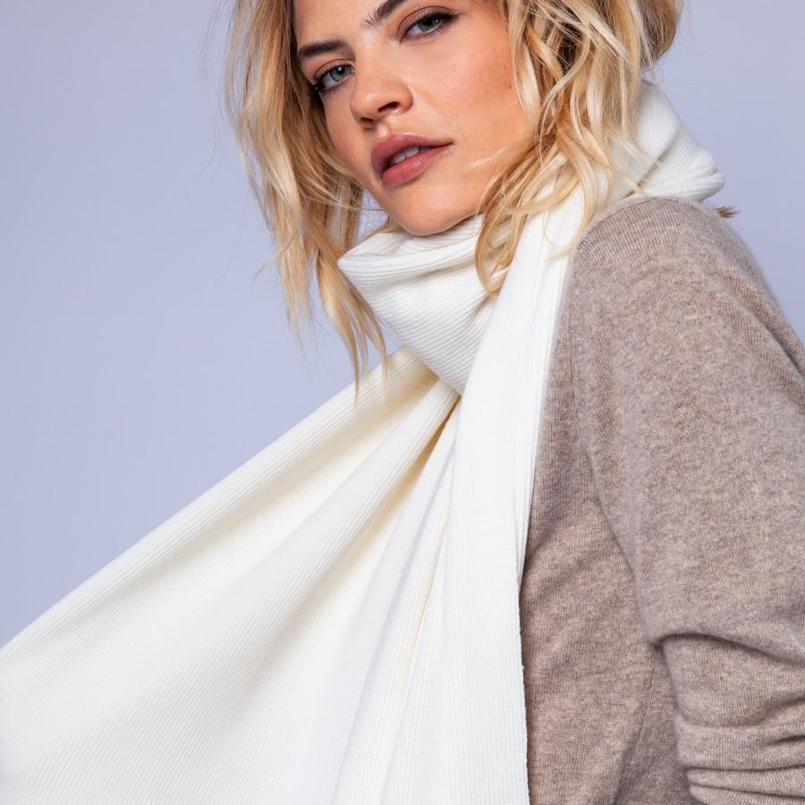 Echarpe en laine mérinos - Emphase 6300 blanc - 02 blanc