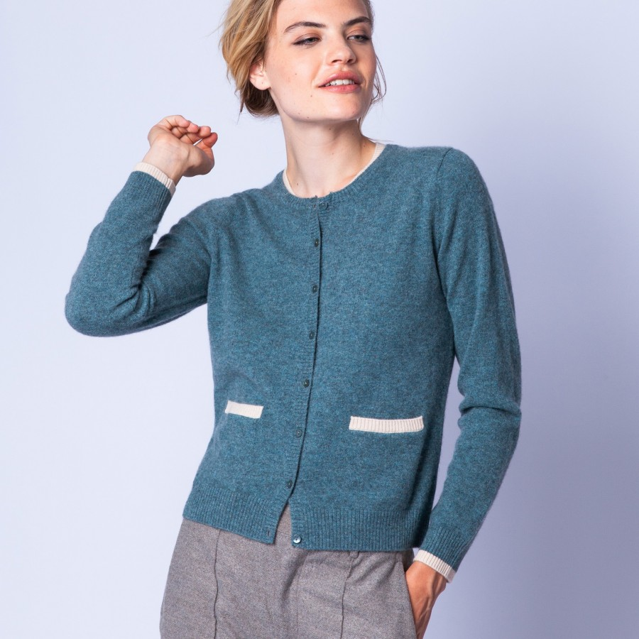 Double collar cashmere cardigan - Eddie