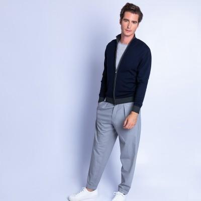 Zipped high neck merino wool cardigan - Fiacre