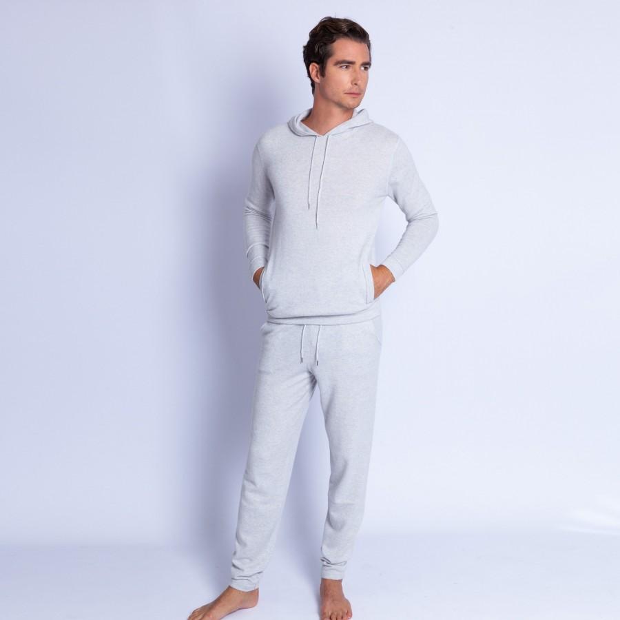 Sweat à capuche en cachemire - Harper 6366 plume - 81 gris pale