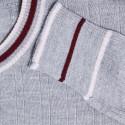 Pull en laine à côtes tricolores - Edouard 6350 glace - 81 gris pale