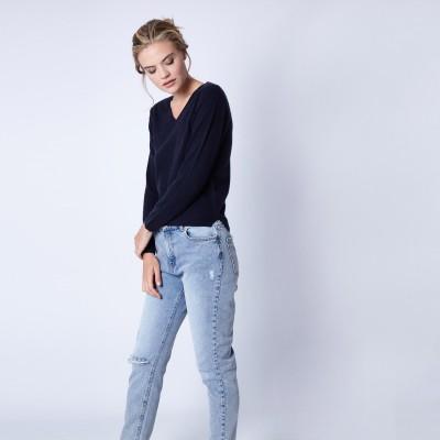 V collar sweater 100% cashmere Monceal