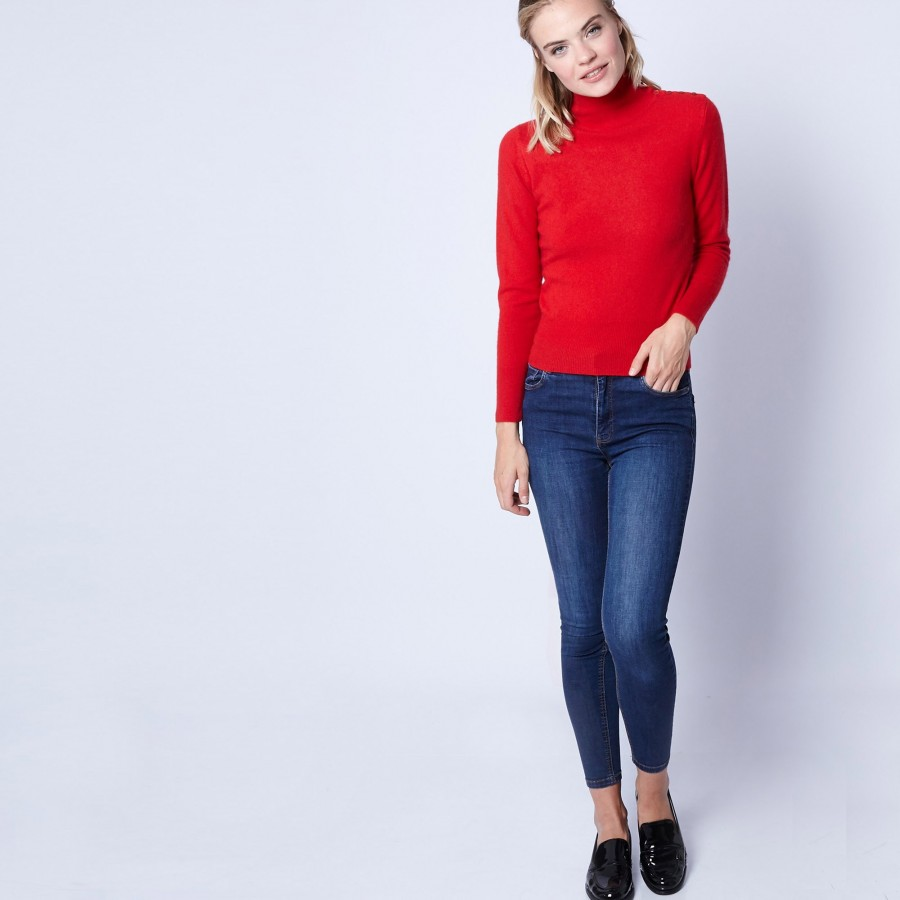 Pull en cachemire col montant Pigalle 6181 imperial - 52 rouge