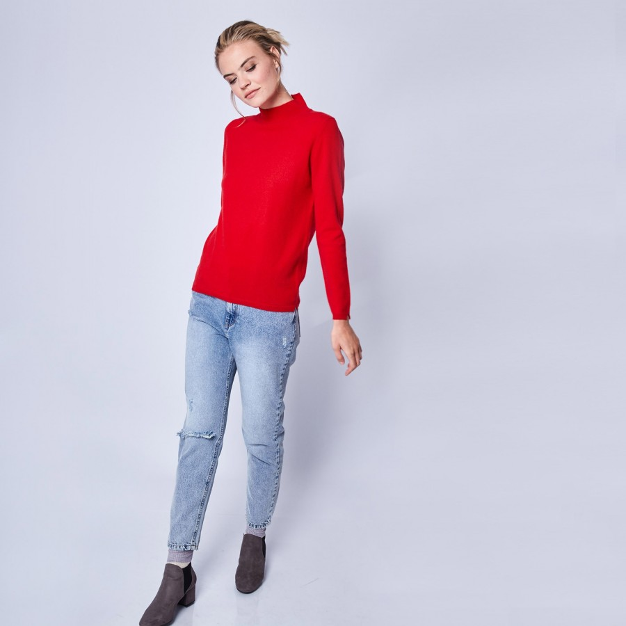 Pull en cachemire col montant Wagram 6181 Imperial - 52 Rouge