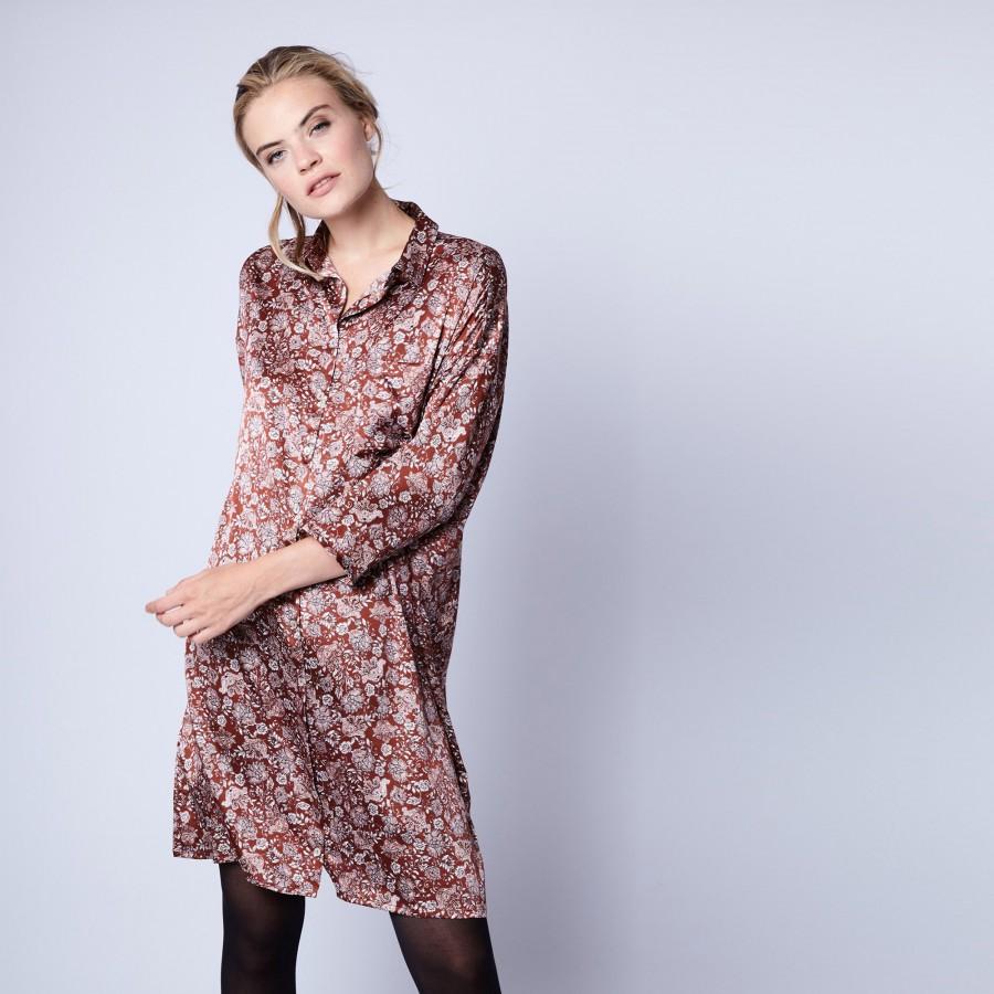 Robe chemise en soie - Gaspard 6372 Safran - 15 Orange