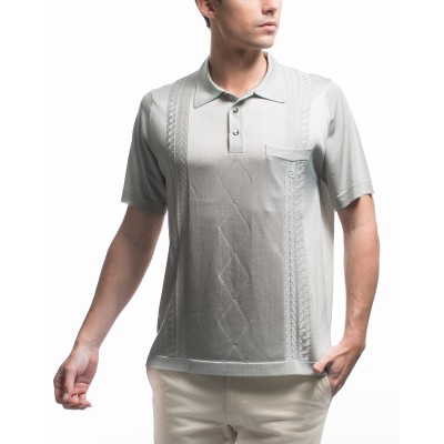 Men's vertical stripes, cables and argyle pattern polo-shirt Klaus