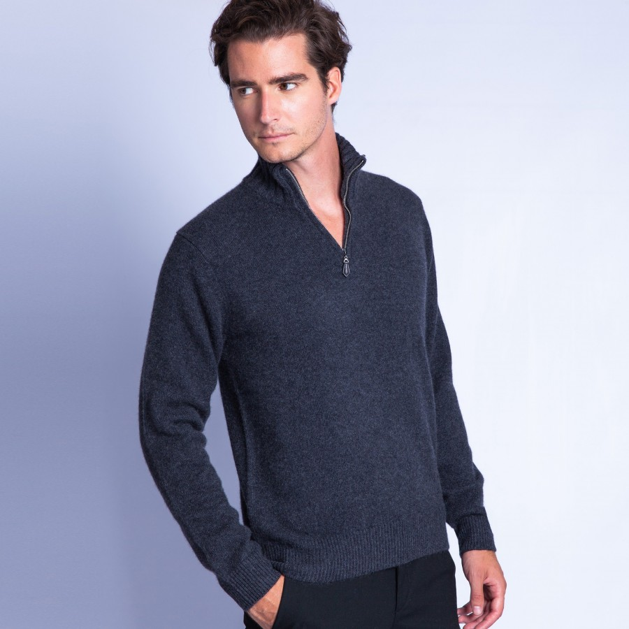 18dd59da188 Man s zipped collar pullover of quality made of cashmere