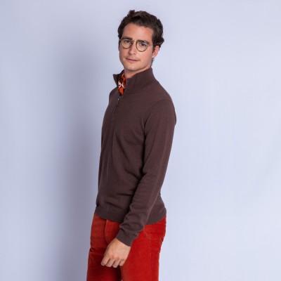 Crew neck zipped collar cashmere sweater Even