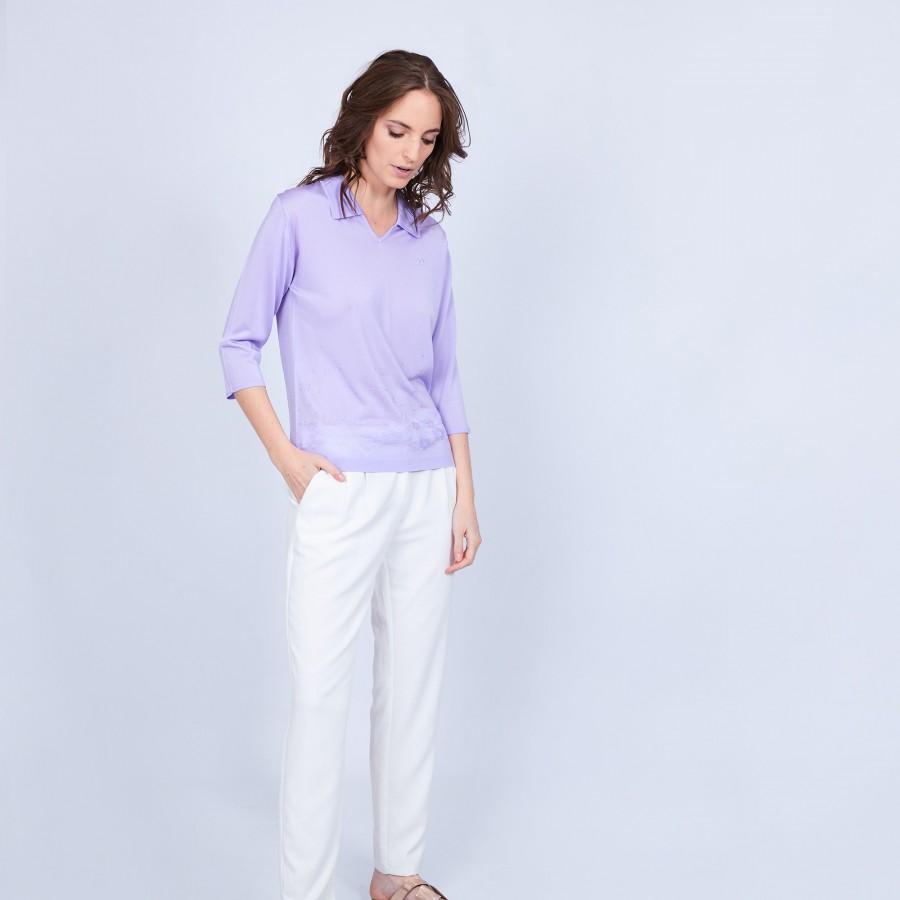 Polo en Fil Lumière - Murielle 8033 Glycine-16 Violet clair