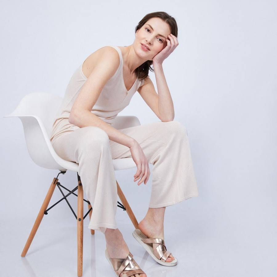 Wide-legged trousers in bamboo and cashmere - HAMMAM