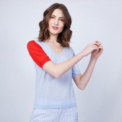 Short-sleeved V-neck jumper in two-tone wool - JACKIE