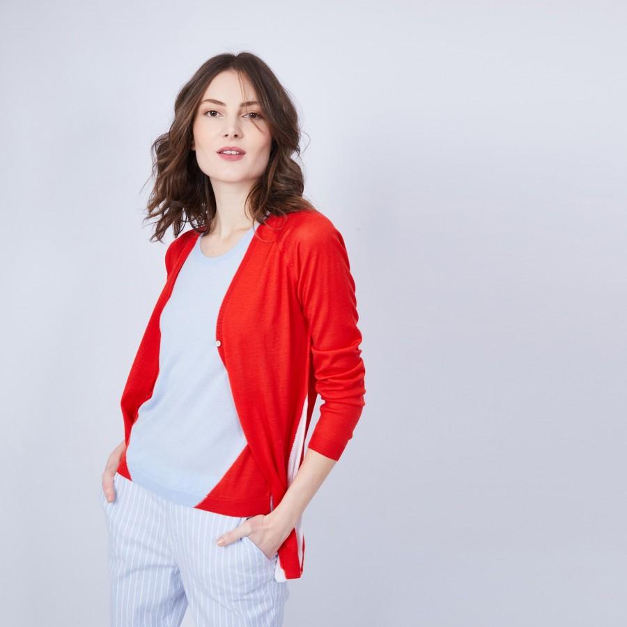 Gilet bicolore col V - Jasmin 6550 vermillon celeste blanc - 52 rouge