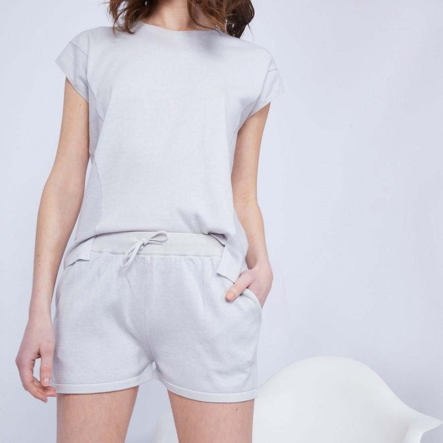 Short en coton cachemire- Harem 6366 plume - 81 Gris pâle