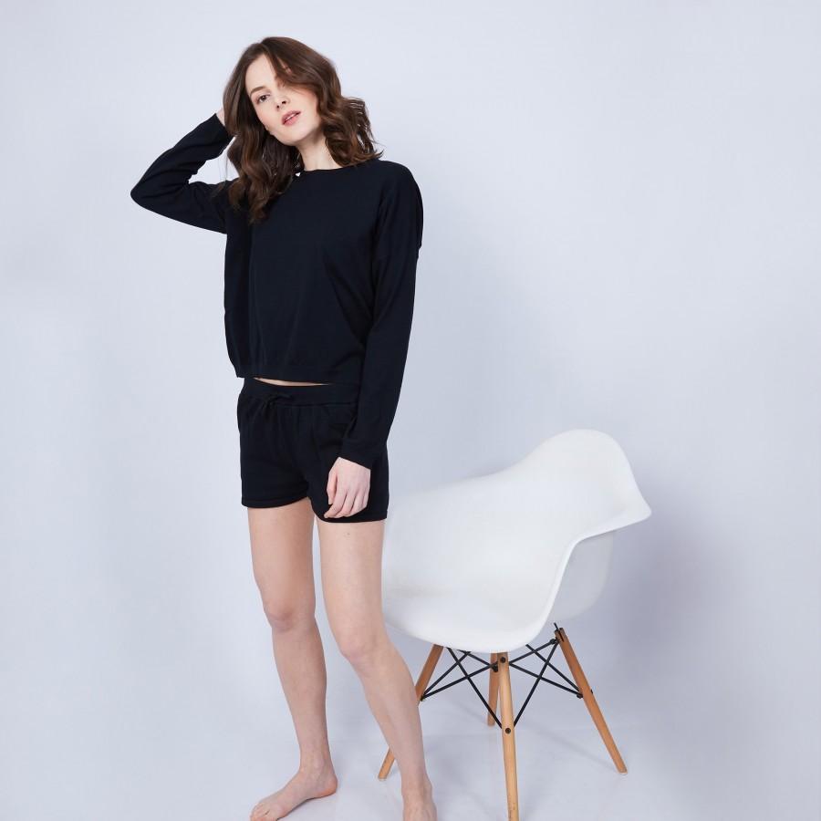 Short en coton cachemire- Harem 6410 noir - 01 Noir