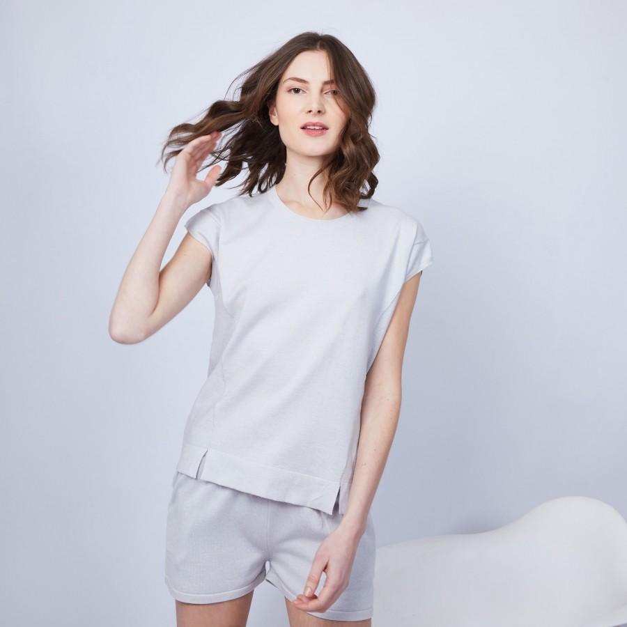 T-shirt en cachemire sans manches - Hato 6366 plume - 81 Gris pâle